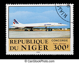 concorde - mail stamp printed in Niger featuring an Air...