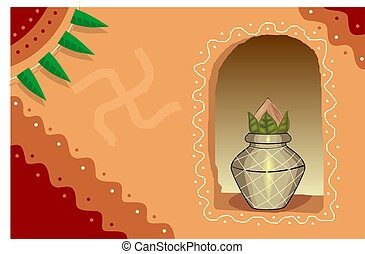 divine pot in a wall - Illustration of divine pot in a wall...