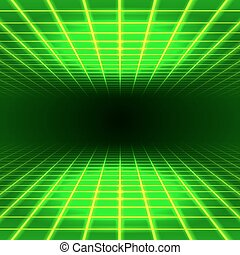 Dimensional grid space - Green dimensional grid space tunnel...