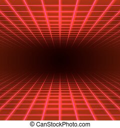 Dimensional grid space - Red dimensional grid space tunnel...