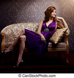 Fashion luxury model in purple dress Young beauty style girl...