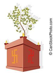 Tulsi, plant with oil lamps - Illustration of Tulsi, plant...