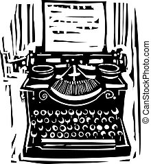Woodcut Typewriter - Woodcut style image of a manual...