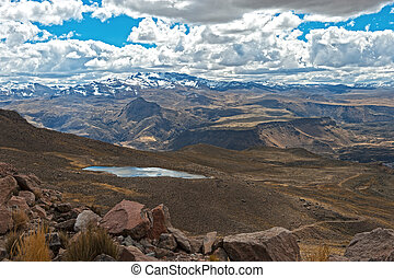 Andes with a lake and snow on the mountains