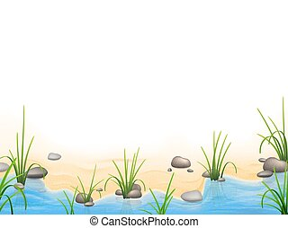 Grass and pebbles on a river bank. Vector realistic nature...