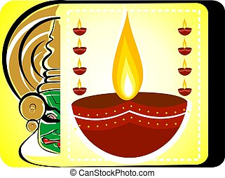 Kathakali face and ignited oil pots - Illustration of...