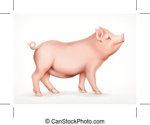 Pig, vector icon, isolated on white background