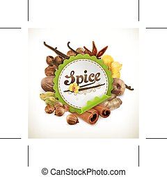 Spice, vector label, isolated on white background