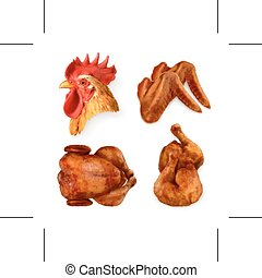 Grilled chicken icons - Set with grilled chicken, vector...