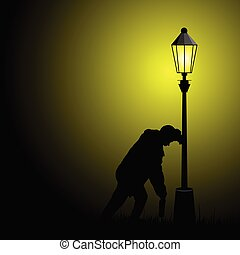 drunk man illustration with street light