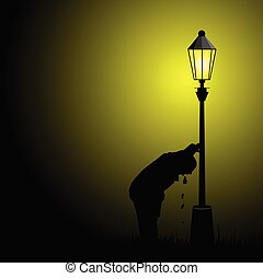 drunk man illustration with street light silhouette