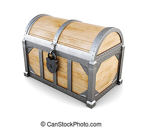 Wooden chest on white background. 3d rendering - Old wooden...