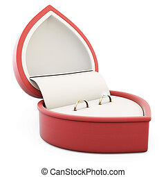 Two rings in red box for rings on a white background 3d...