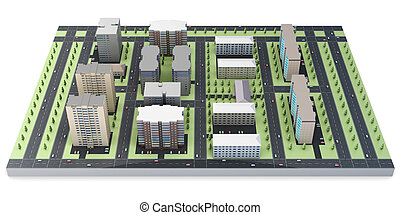 3d model of a city on a white background.