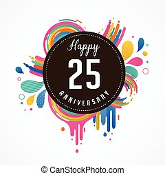 anniversary - abstract background with icons and elements -...
