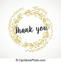 Thank you - card with gold laurel wreath and text