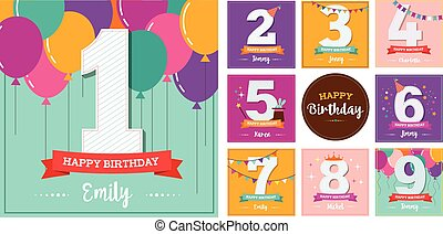 Happy Birthday set of greeting cards