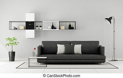 Black and white minimalist lounge