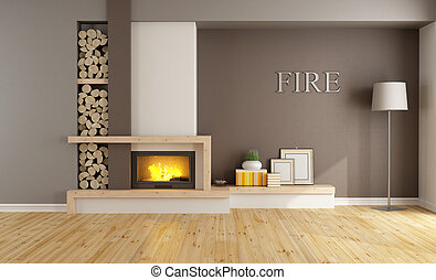 Brown lounge with fireplace
