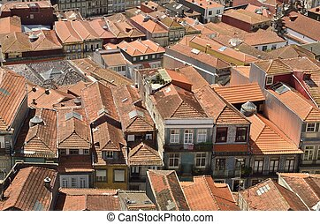 Porto roofscape - Roofscape seen from Clerigos Tower in...