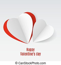 Valentine card - Red and white folded paper hearts....