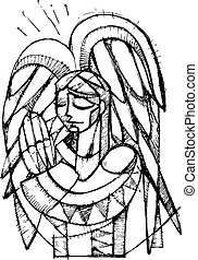 Guardian Angel - Hand drawn vector illustration or drawing...