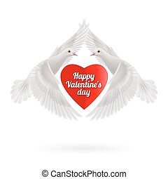 Sweethearts - Red heart between two white flying doves on...