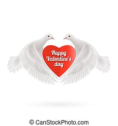Sweethearts - White two doves holds red heart in wings on...