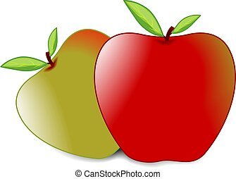 apples - Illustration of red and green apples with leaf