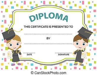 crianças,  diploma