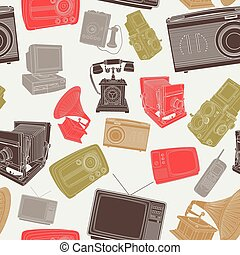 Wallpaper of Old Electronic Items