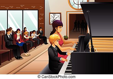 Boy in Piano Recital - A vector illustration of boy in piano...