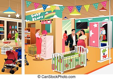People Buying a Crib - A vector illustration of expecting...