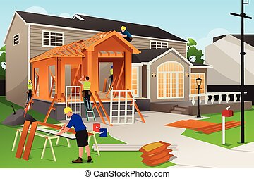 Workers Working on Home Renovation - A vector illustration...
