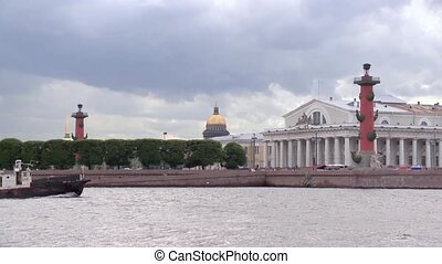 View of Vasilevsky island in Saint-Petersburg from Neva river in summer day
