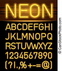 Neon font and symbols - Orange set neon font and symbols...