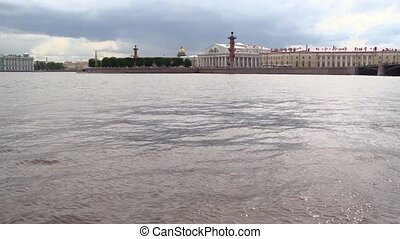 View of Vasilevsky island in Saint-Petersburg from Neva river in summer day.