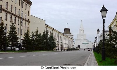 View of Kazan Cremlin in the end of a street - View of white...