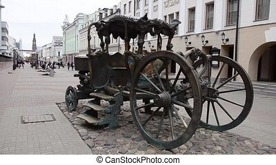 Iron brougham in the central square of Kazan city.