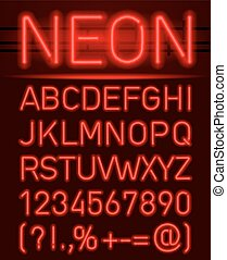 Neon font and symbols - Red set neon font and symbols...