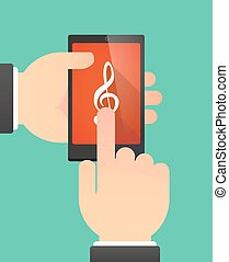 Man using a phone showing a g clef - Man hands using a phone...