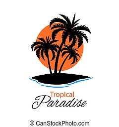 Tropical Island - Beautiful and simple illustration with...