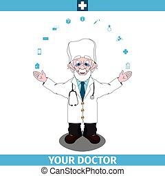 Doctor standing spread wide hands apart