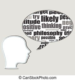 Head shape with marketing concept words isolated on white background. Vector file layered for easy manipulation and custom coloring.