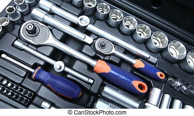 Set of tool in suitcase Close up