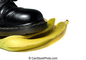 old shoe slips on a banana peel