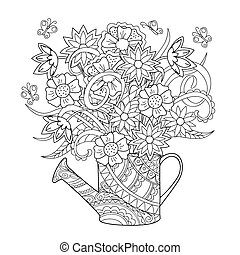 watering can with flowers - Hand drawn decorated image...