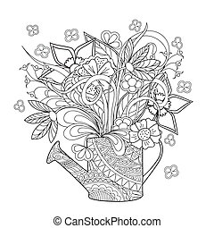 doodle flowers and herb - Hand drawn decorated image...