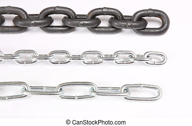 three metal chains of different size on white background