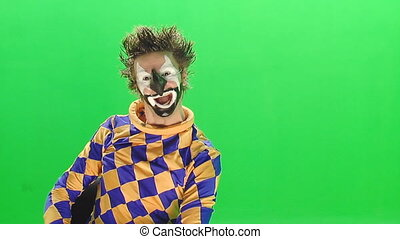 Clown on the green screen